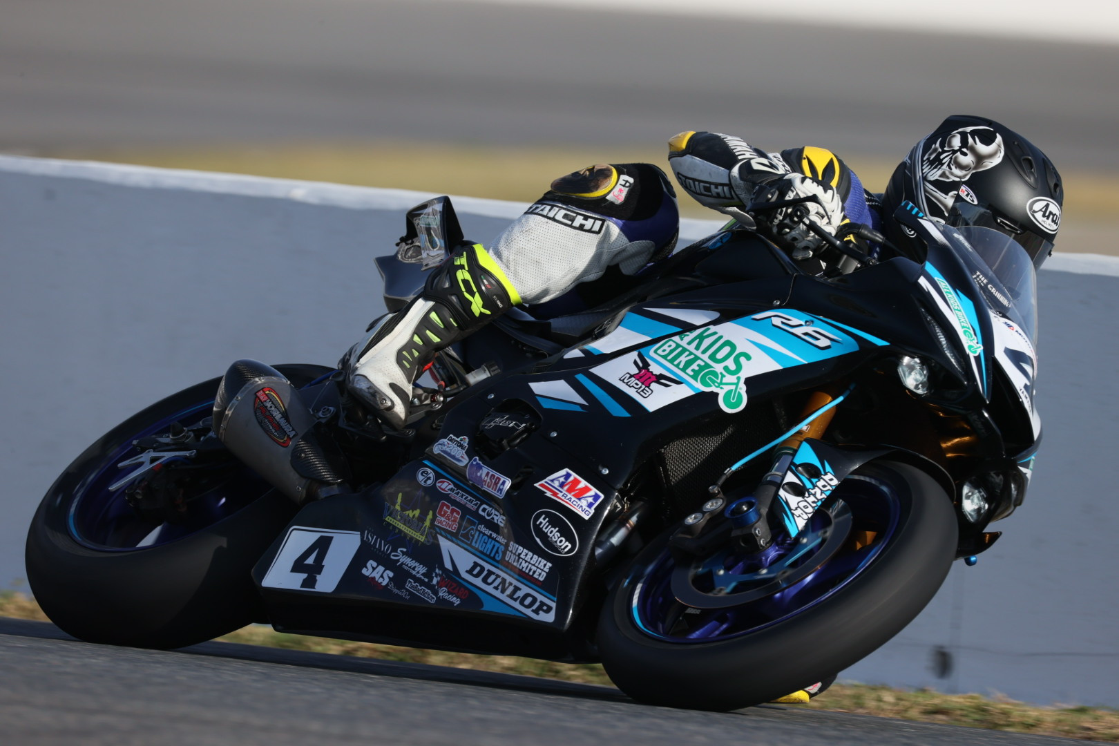 Josh Hayes (4) at speed on his MP13 Racing Yamaha during the opening practice session at the 79th Daytona 200. Photo by Brian J. Nelson.