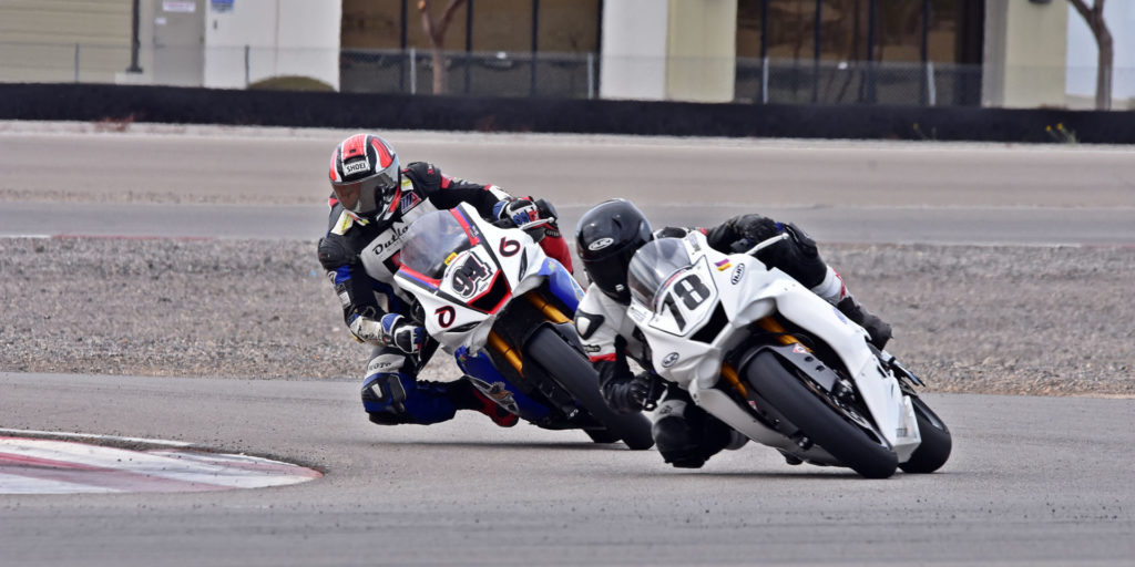 Mookie Wilkerson (94) passed Alejandro Thermiotis (78) for the win in C Superbike. Photo by Michael Gougis.