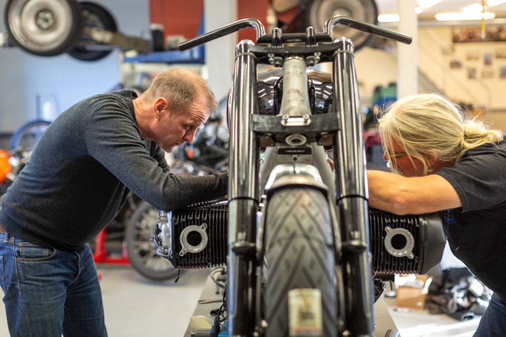 BMW staff working on the Concept R 18. Photo courtesy of BMW Motorrad.