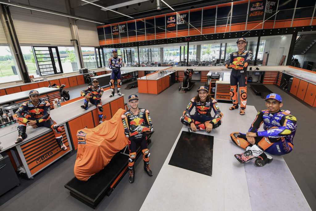 KTM Grand Prix racers at the Red Bull KTM factory race shop in Austria in 2019. Photo courtesy of Dorna.