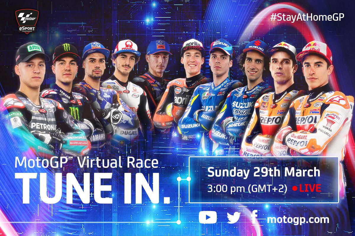Riders slated to participate in the MotoGP Virtual Race include (from left): Fabio Quartararo, Maverick Vinales, Miguel Oliveira, Francesco Bagnaia, Iker Lecuona, Aleix Espargaro, Joan Mir, Alex Rins, Alex Marquez, and Marc Marquez. Image courtesy of Dorna/www.motogp.com.