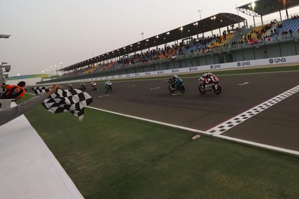 The finish of the Moto3 race in Qatar. Photo courtesy of Dorna.