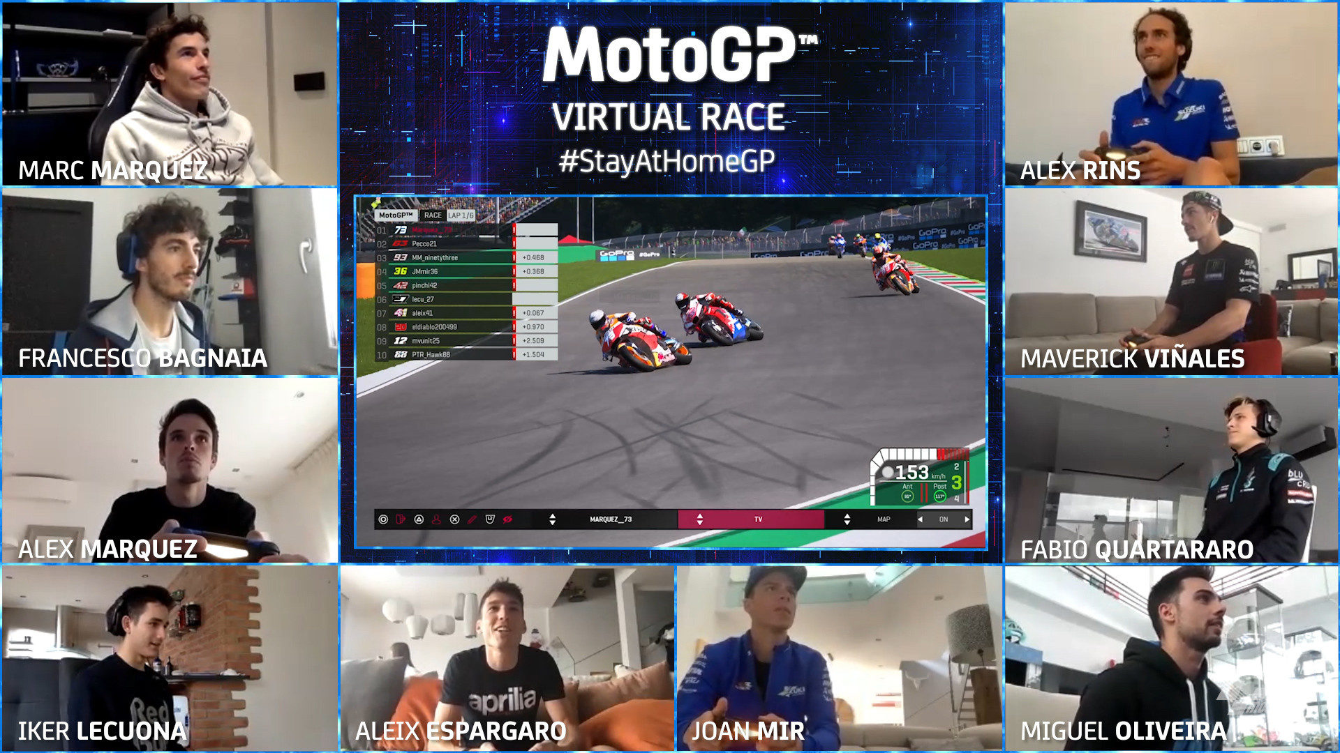 A scene from the #StayAtHomeGP virtual MotoGP race. Image courtesy of Dorna/www.motogp.com.