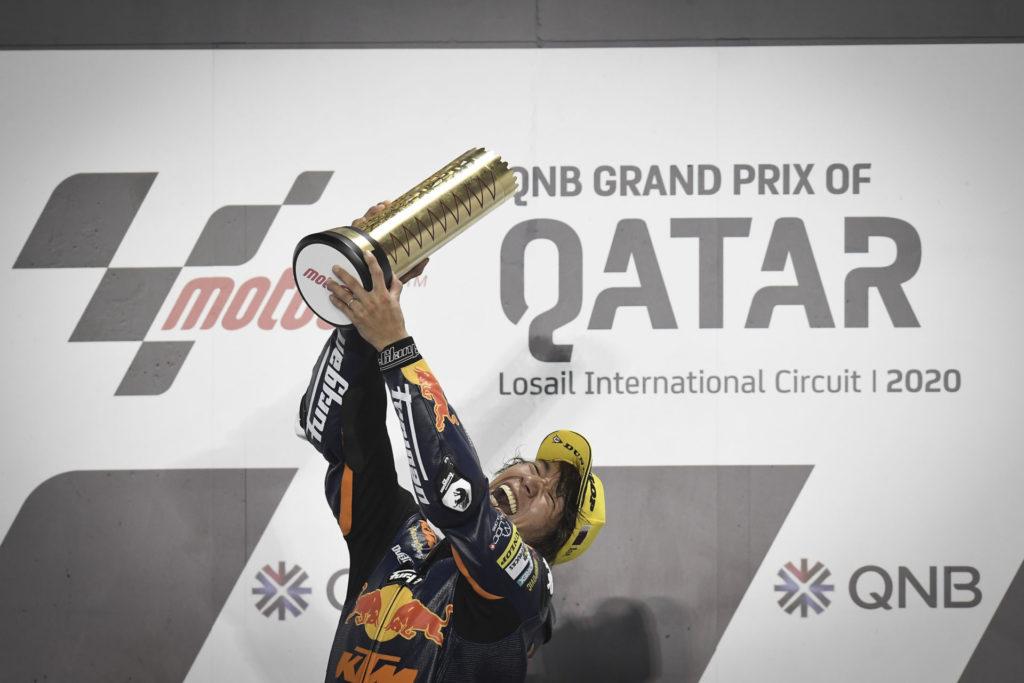 Tetsuta Nagashima on the Moto2 podium in Qatar. Photo courtesy of Dorna.