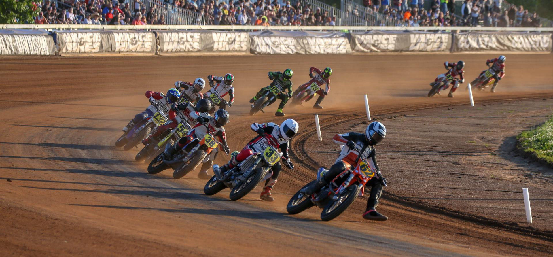 Action from an American Flat Track race in 2019. Photo courtesy of AFT.