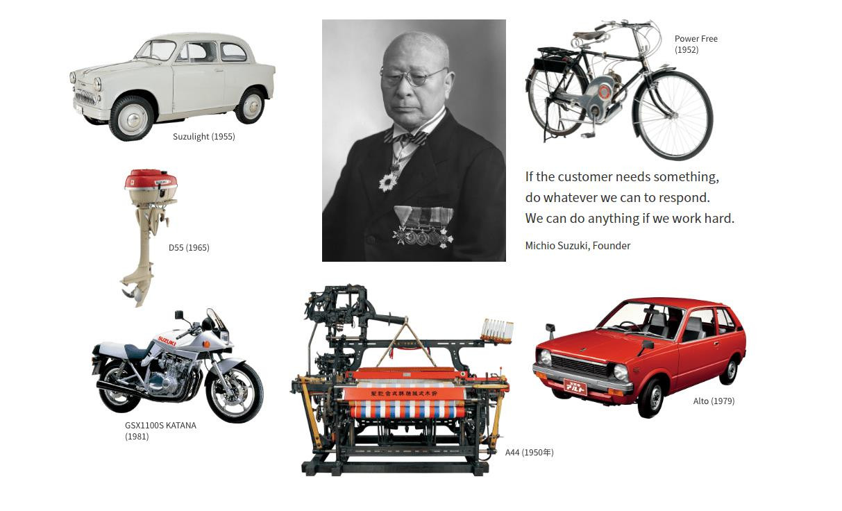 Some of the significant products and points from Suzuki Motor Company's first 100 years. Image courtesy of Suzuki Motor Company.