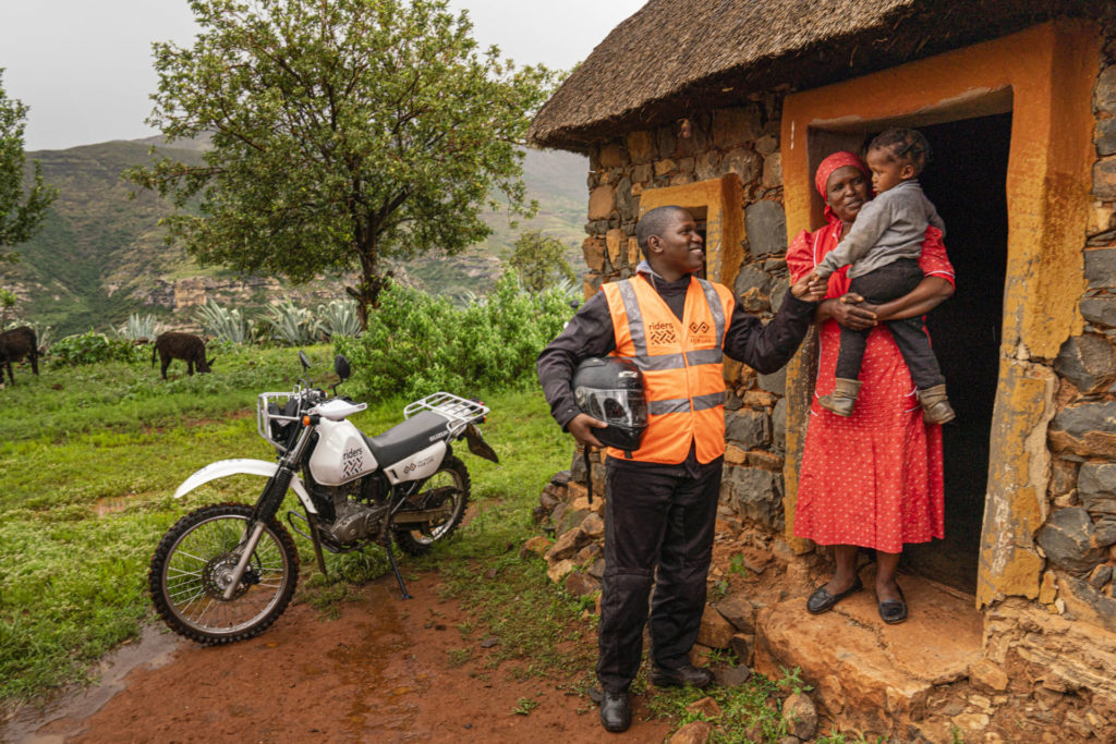 Two Wheels for Life's local partner Riders for Health in action in Africa. Photo courtesy of Dorna.