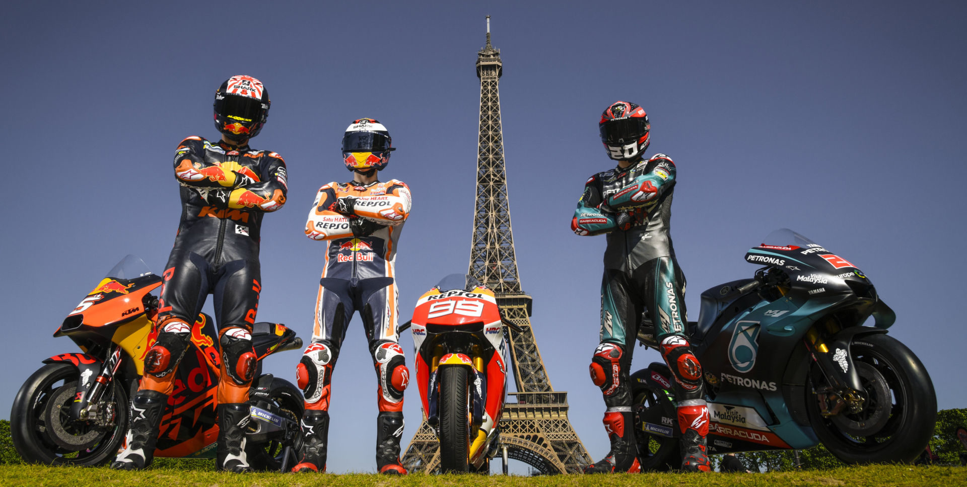 Johann Zarco (left), Jorge Lorenzo (center), and Fabio Quartararo (right) in a pre-race publicity photo in Paris for the 2019 French Grand Prix. Photo courtesy of Dorna.
