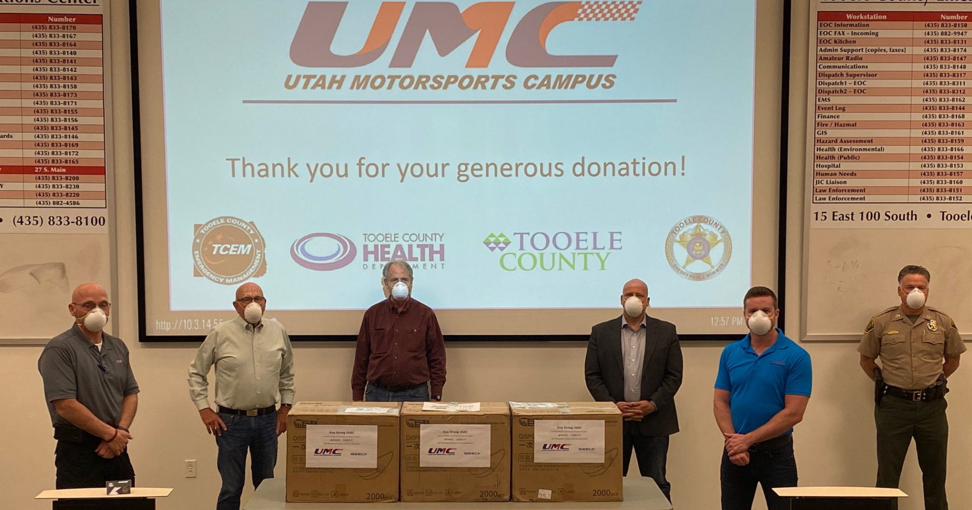 Utah Motorsports Campus donates 5,000 medical-grade face masks to Tooele County. Pictured left to right are: Bucky Whitehouse, Tooele County Emergency Manager; Kendall Thomas, Tooele County Commissioner; Tom Tripp, Tooele County Commissioner; Shawn Milne, Tooele County Commissioner; Dixon Hunt, UMC Senior Vice President; Paul Wimmer, Tooele County Sheriff. Photo courtesy of Utah Motorsports Campus.