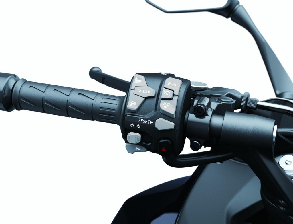 The Cruise Control buttons on a 2020 Kawasaki Ninja 1000SX. Photo courtesy of Kawasaki.