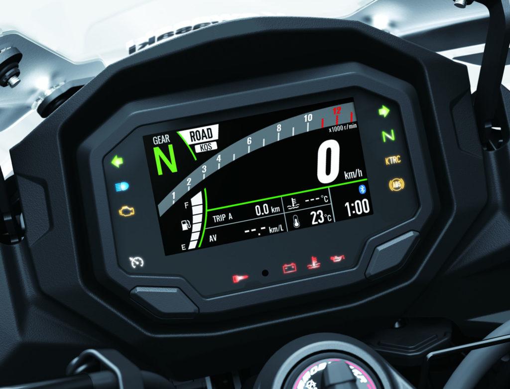 The new dashboard on the 2020 Kawasaki Ninja 1000SX. Photo courtesy of Kawasaki.