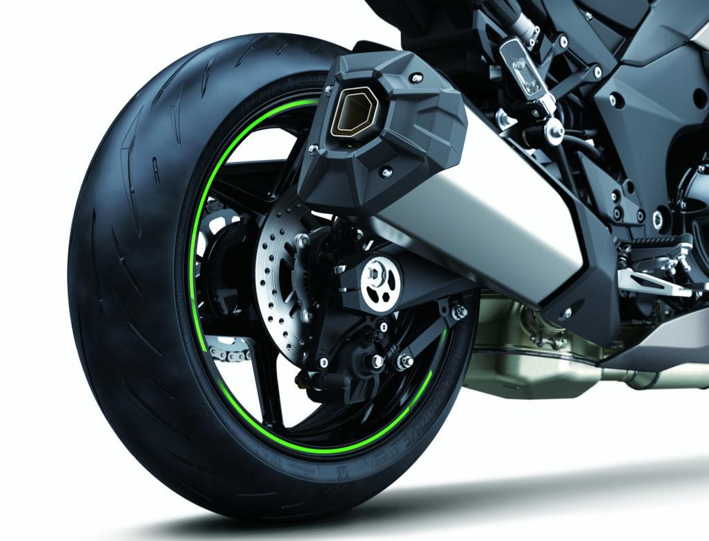 The 2020 Kawasaki Ninja 1000SX comes with a new, single-muffler exhaust system. Photo courtesy of Kawasaki.