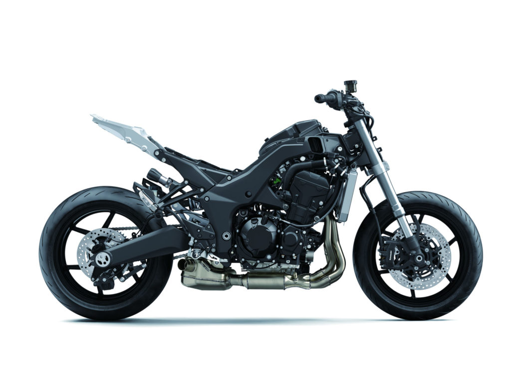 A 2020 Kawasaki Ninja 1000SX without its bodywork. Photo courtesy of Kawasaki.