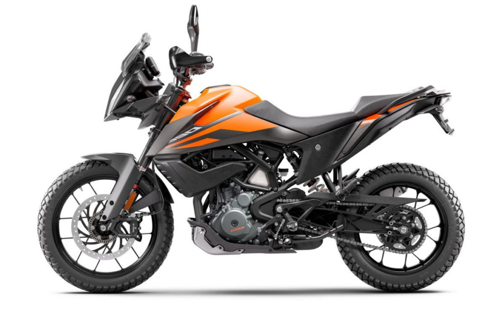 The left side of a 2020-model KTM 390 Adventure. Photo courtesy of KTM North America.