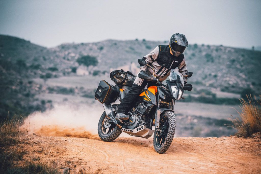 A 2020-model KTM 390 Adventure. at speed. Photo courtesy of KTM North America.