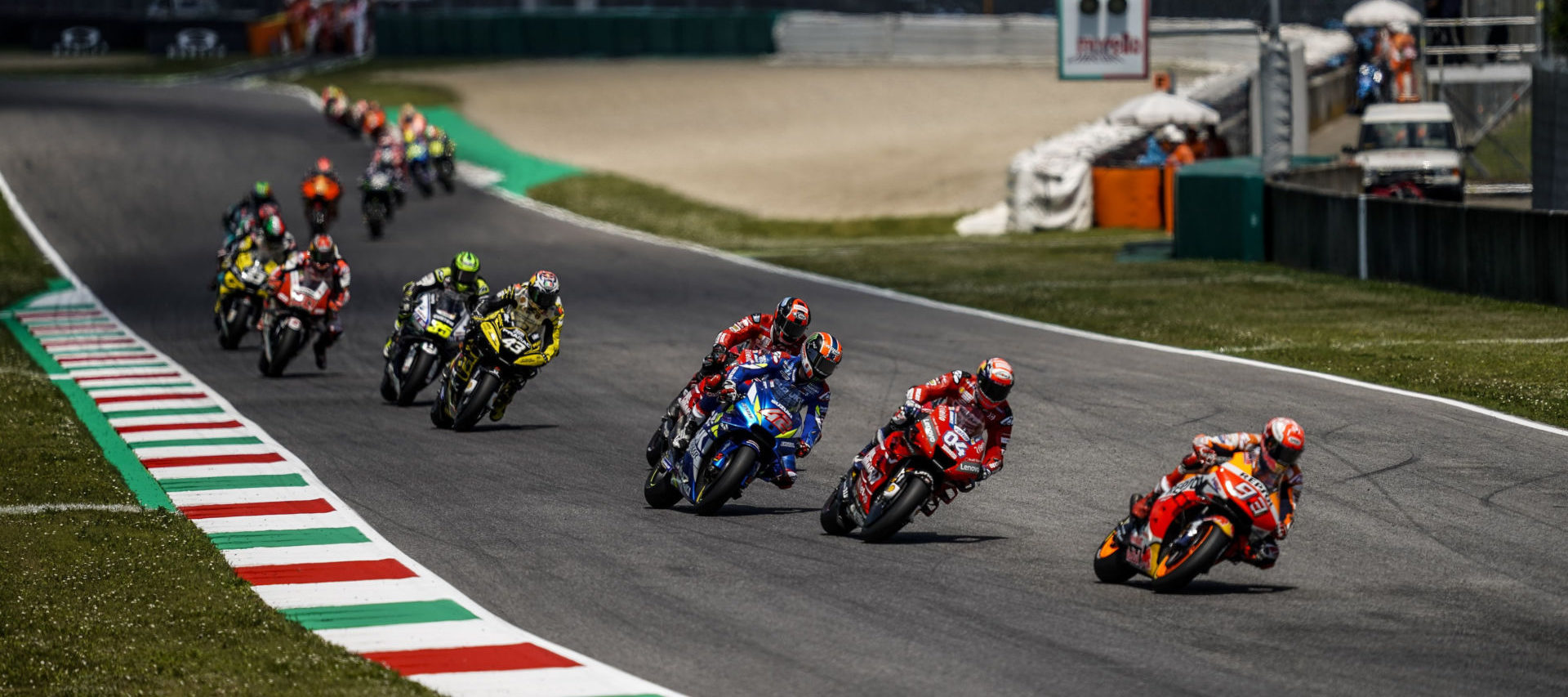 Marc Marquez 93) leading the MotoGP race at Mugello in 2019. Photo courtesy of Dorna.