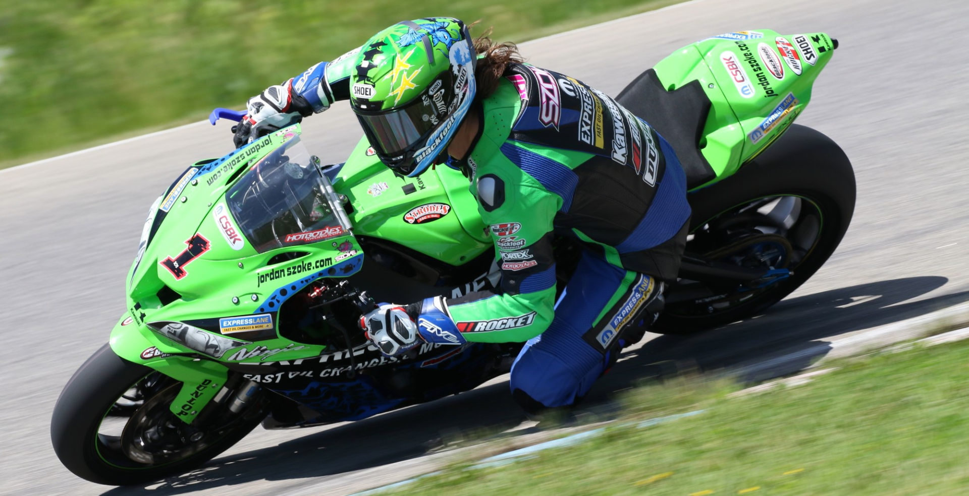 Jordan Szoke (1), the 13-time Canadian Superbike Champion, as seen in 2019. Photo by Rob O'Brien, courtesy of CSBK/PMP.