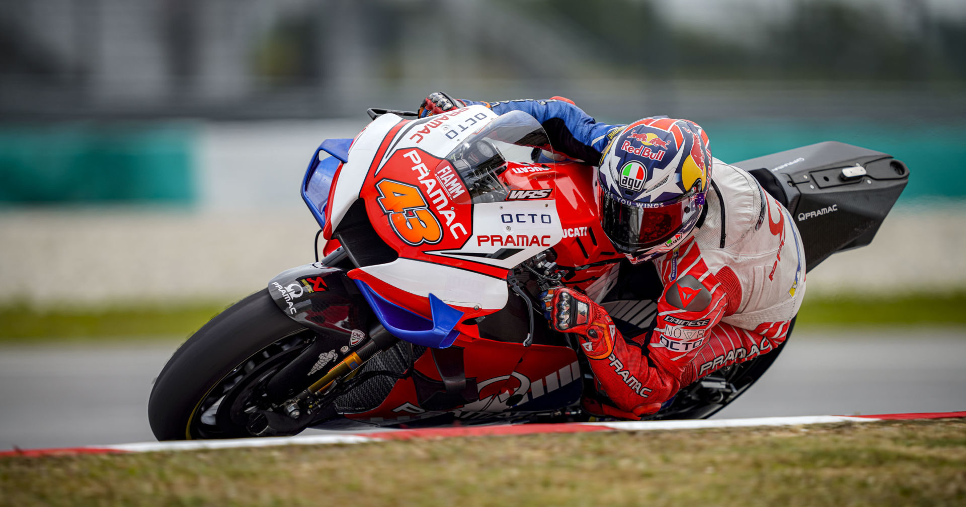 Jack Miller (43) on his Pramac Racing Ducati at the MotoGP pre-season test at Sepang in 2020. Photo courtesy of Pramac Racing.