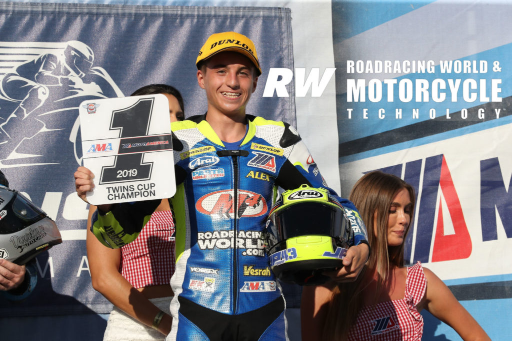 Alex Dumas with his MotoAmerica Twins Cup #1 plate in 2019. Photo by Brian J. Nelson.