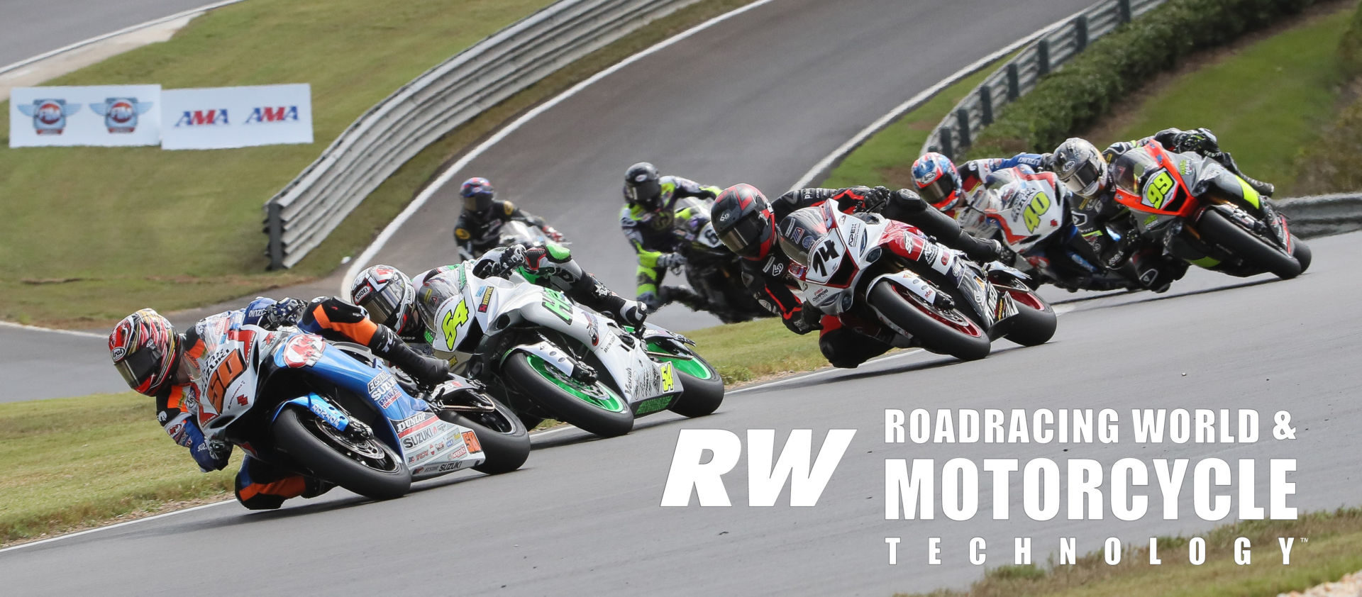 The start of MotoAmerica Supersport Race One at Barber Motorsports Park in 2019. Bobby Fong (50) leads Richie Escalante (54), Bryce Prince (74), PJ Jacobsen (99), Sean Dylan Kelly (40), Hayden Gillim (69), and Cory Ventura. Photo by Brian J. Nelson.