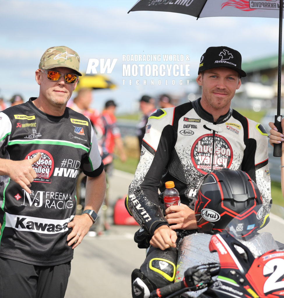 Corey Alexander (right) and his uncle, former AMA Pro 750cc Supersport Champion Richie Alexander on the grid at Pittsburgh International Race Complex in 2019. Photo by Brian J. Nelson.