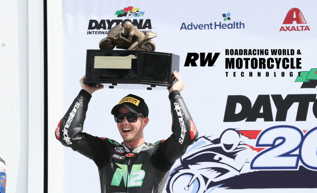 Kyle Wyman, after winning the 78th Daytona 200 in 2019. Photo by Brian J. Nelson.