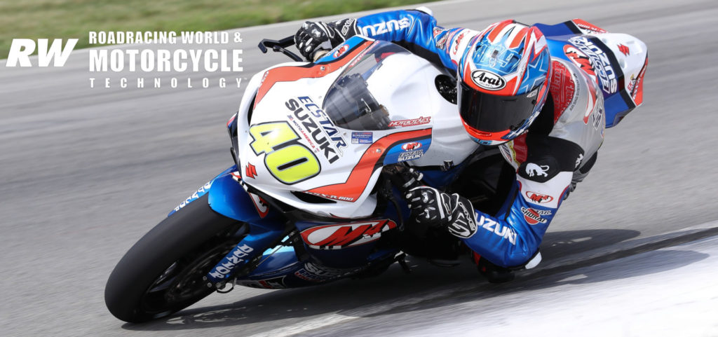 Sean Dylan Kelly (40) as seen on his M4 ECSTAR Suzuki GSX-R600 during the 2019 MotoAmerica Supersport Championship. Photo by Brian J. Nelson.
