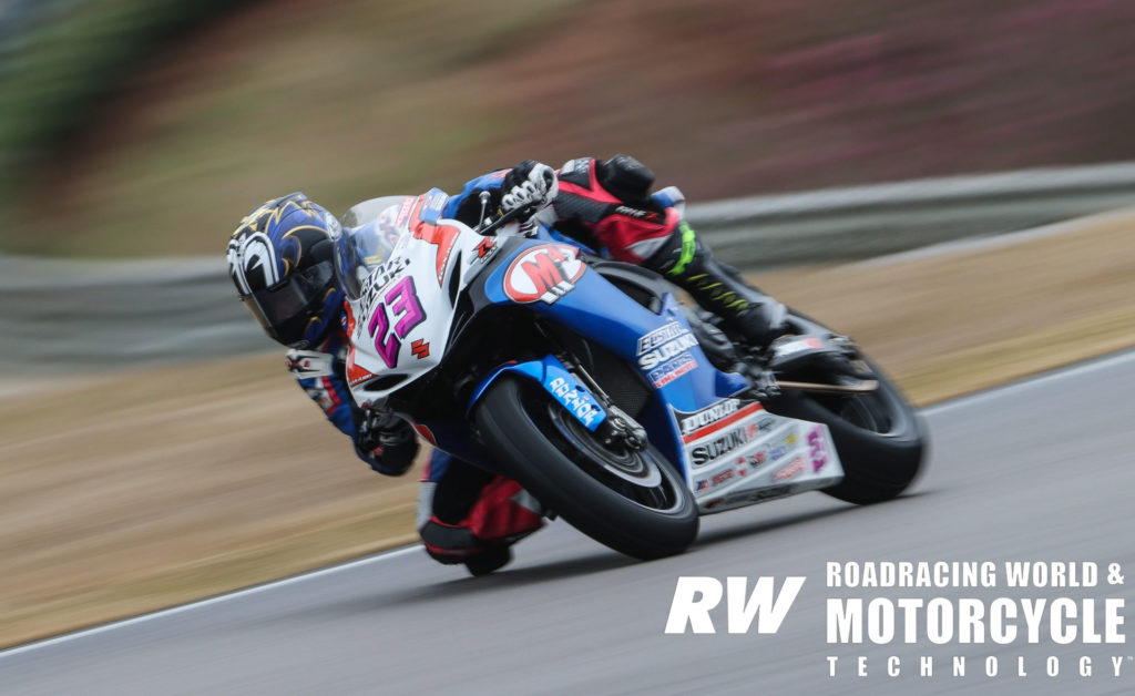 Lucas Silva (23) on a wet track during the 2020 MotoAmerica pre-season test at Barber Motorsports Park. Photo by Brian J. Nelson.