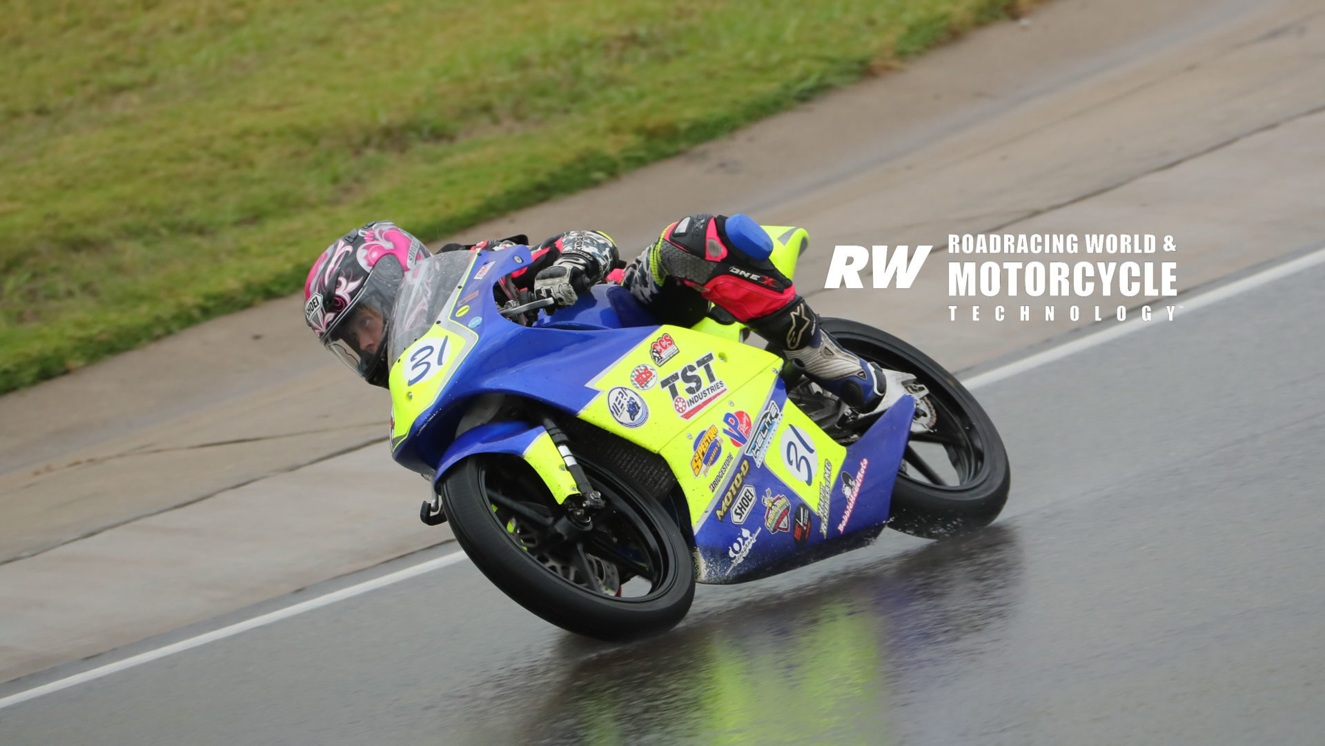 Kayla Yaakov (31) in action during a wet race at the 2019 WERA Grand National Finals (GNF) at Barber Motorsports Park. Photo by Brian J. Nelson.