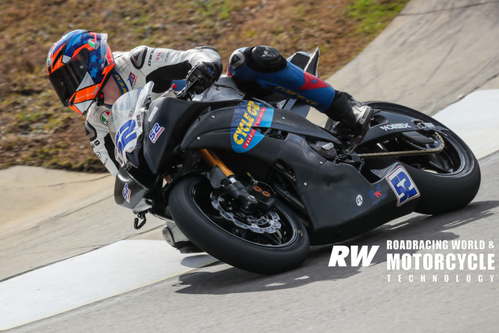 Nolan Lamkin (52) at speed during the 2020 MotoAmerica pre-season test at Barber Motorsports Park. Photo by Brian J. Nelson.