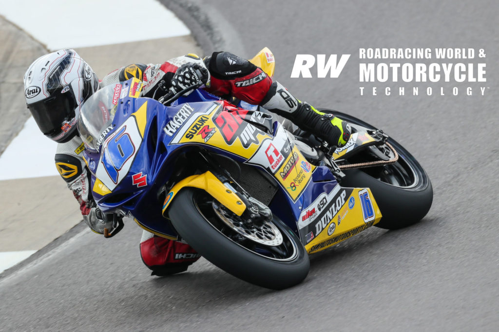 Kevin Olmedo (16) getting familiar with his new Altus Motorsports Suzuki GSX-R600 during the 2020 MotoAmerica pre-season test at Barber Motorsports Park. Photo by Brian J. Nelson.