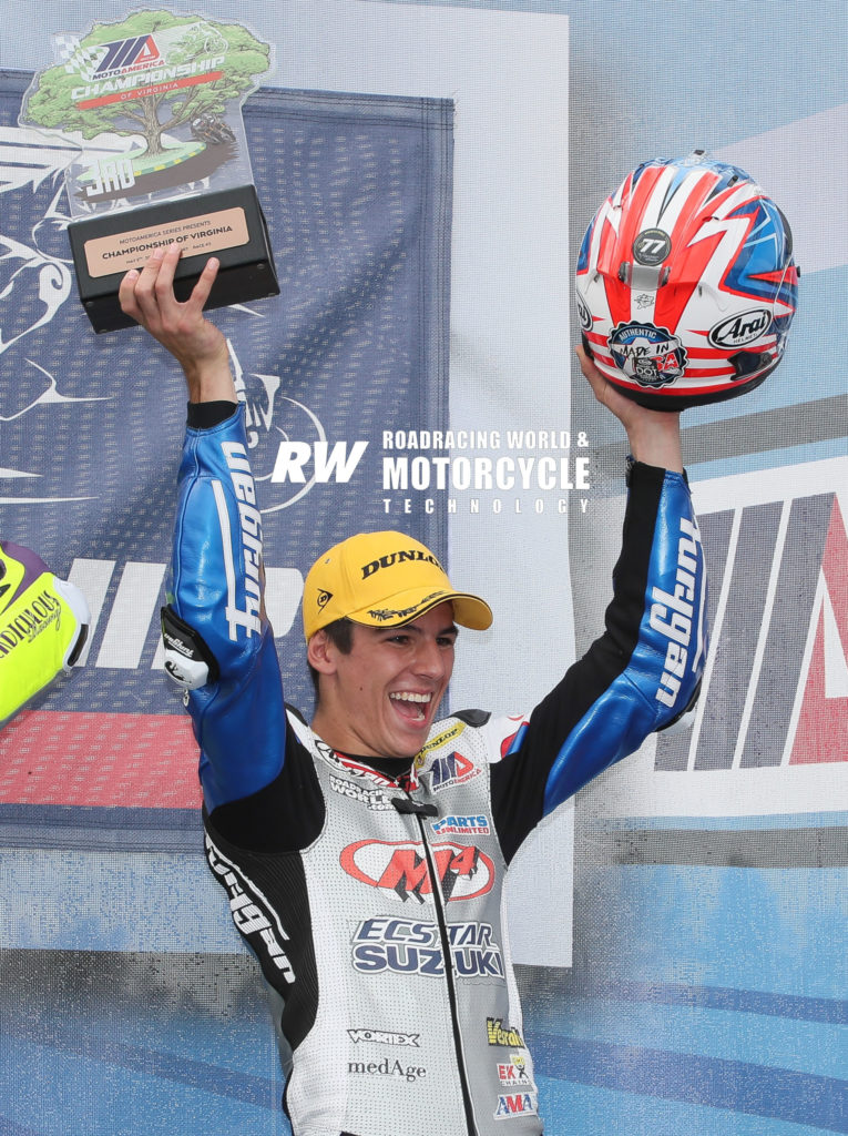 Sean Dylan Kelly on the MotoAmerica Supersport podium at VIRginia International Raceway. Photo by Brian J. Nelson.