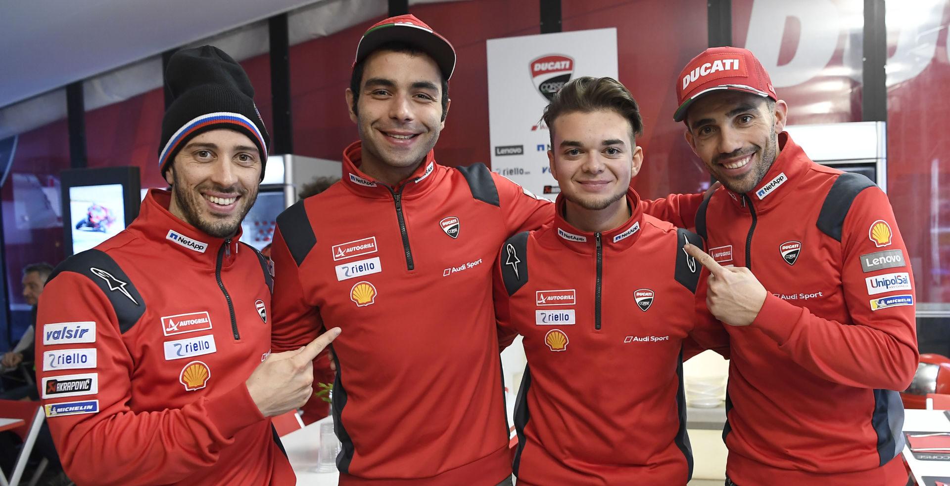 Andrea Saveri (second from right) with Andrea Dovizioso (far left), Danilo Petrucci (second from left), and Michele Pirro (far right). Photo courtesy of Ducati Corse.