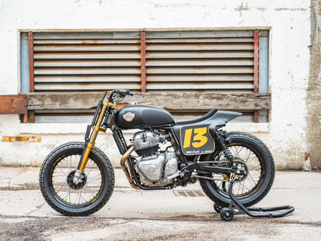 The left side of Melissa Paris' one-off Royal Enfield INT 650 flat tracker. Photo by Brandon LaJoir, courtesy of Royal Enfield North America.