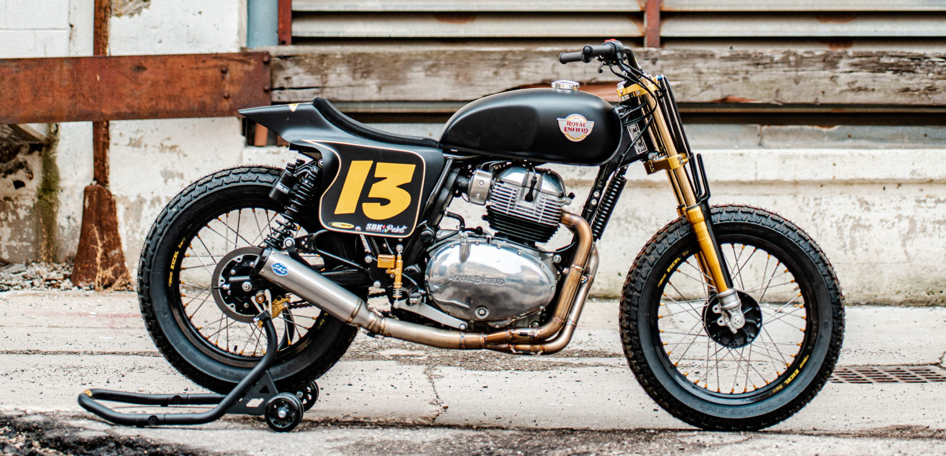 The right side of Melissa Paris' one-off Royal Enfield INT 650 flat tracker. Photo by Brandon LaJoir, courtesy of Royal Enfield North America.