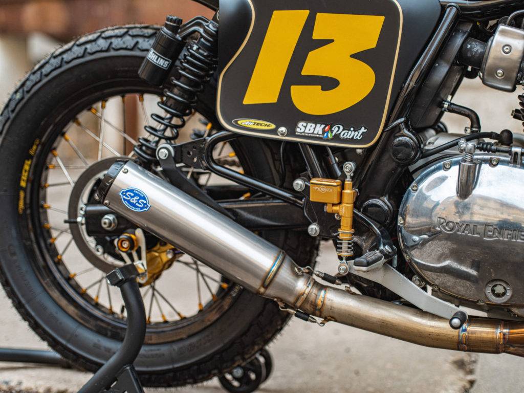 An S&S racing exhaust was added to Paris' one-off Royal Enfield INT 650 flat tracker and matched with an S&S air filter, Dynojet Power Commander and custom dyno tune at Lee's Cycle. Photo by Brandon LaJoie, courtesy of Royal Enfield North America.