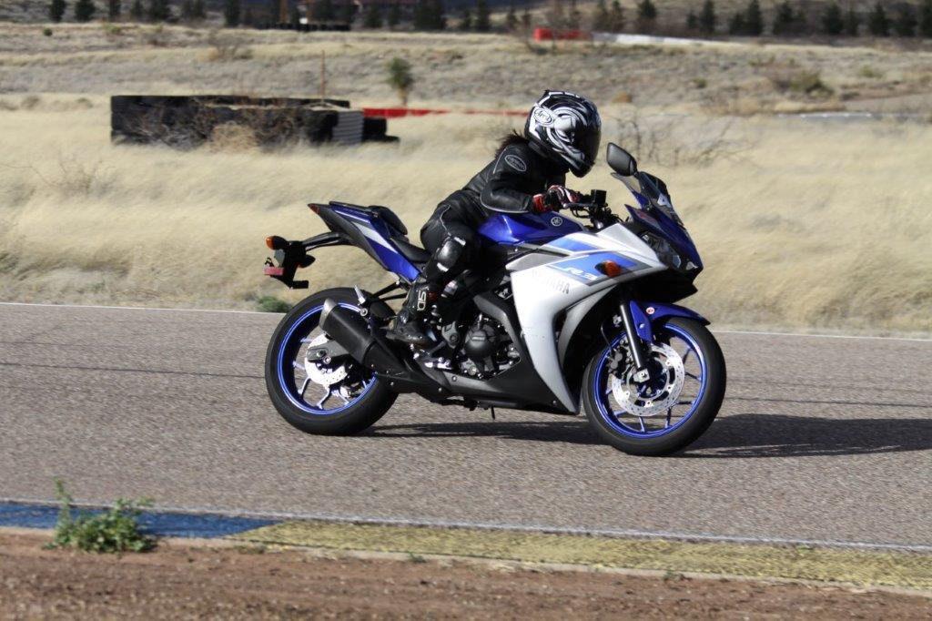 Hiyori Yoshida on track aboard a Yamaha Champions Riding School YZF-R3 at Inde Motorsports Ranch.