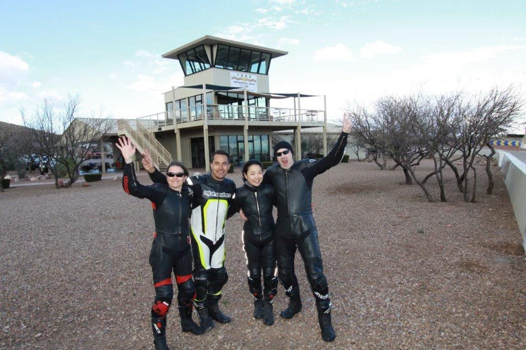 (From left) Melissa Berkoff, Yamaha Champions Riding School instructor Chris Peris, Hiyori Yoshida, and Sam Fleming at Inde Motorsports Park, in Arizona.
