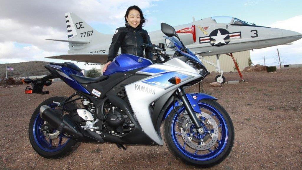 Engineering student and motorcycle enthusiast Hiyori Yoshida with a Yamaha Champions Riding School YZF-R3 at Inde Motorsports Ranch, in Arizona.