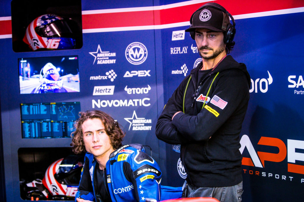 Joe Roberts (left) with John Hopkins (right) in the team garage at Losail International Circuit, in Qatar. Photo courtesy of American Racing Team.