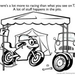 The Little Motorcycle coloring page two. Illustration by Jim Serfass.