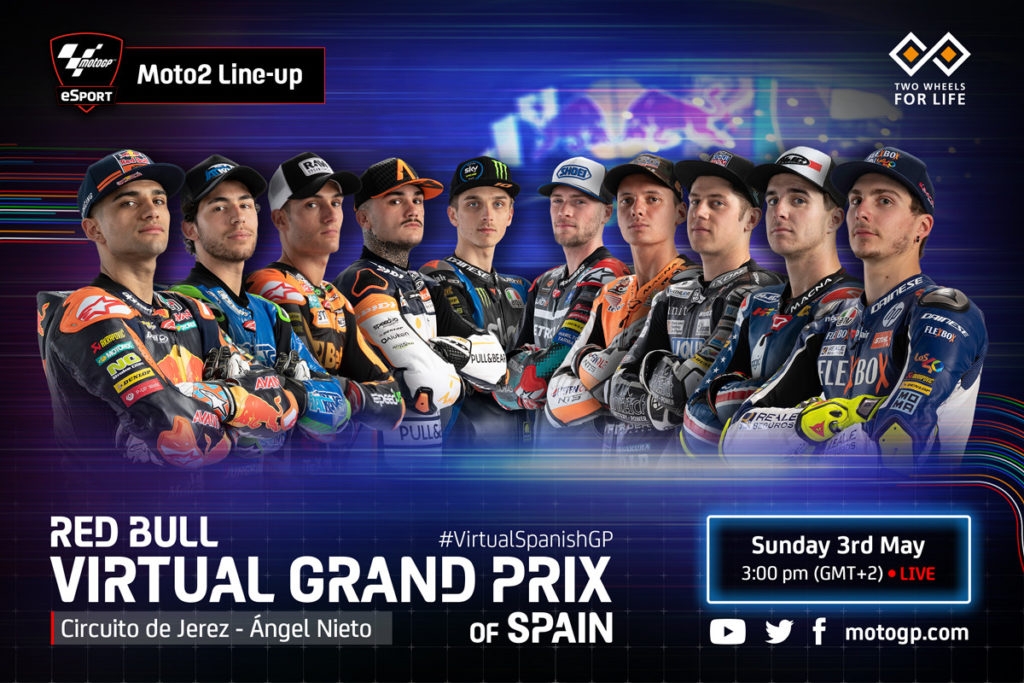The Moto2 class rider lineup for the Red Bull Virtual Grand Prix of Spain. Image courtesy of Dorna.