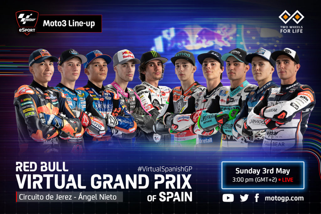 The Moto3 class rider lineup for the Red Bull Virtual Grand Prix of Spain. Image courtesy of Dorna.