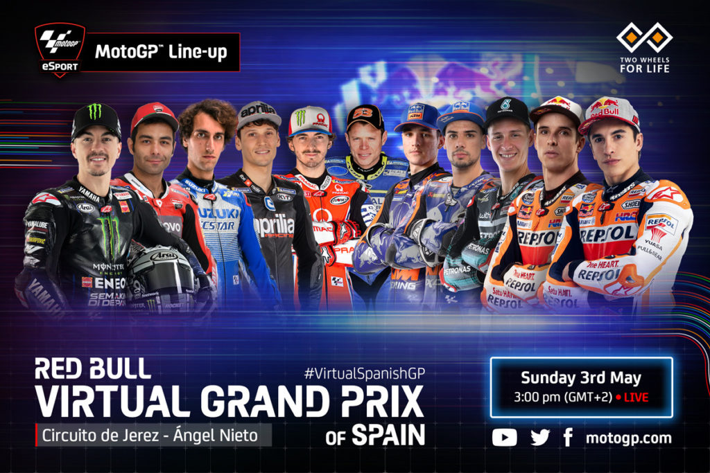 The MotoGP class rider lineup for the Red Bull Virtual Grand Prix of Spain. Image courtesy of Dorna.
