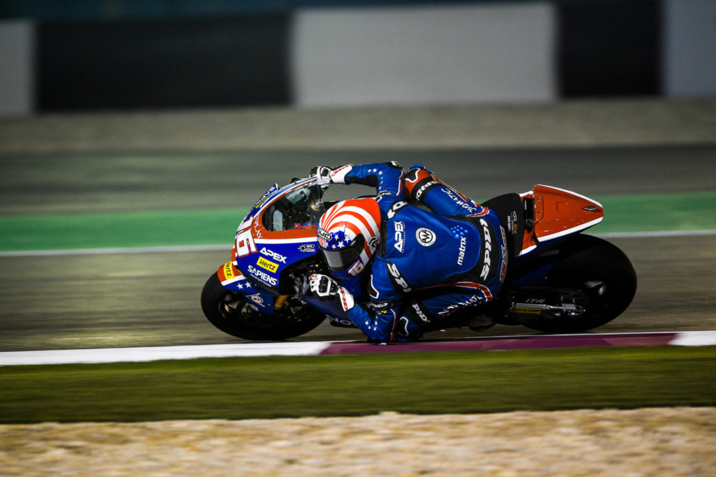 Joe Roberts (16) on his American Racing Team Kalex during the 2020 Moto2 World Championship opening round at Losail International Circuit, in Qatar. Photo courtesy of American Racing Team.