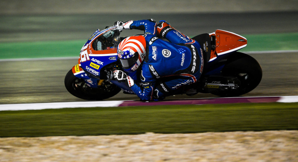 Joe Roberts (16) in action during the 2020 Moto2 World Championship opening round at Losail International Circuit, in Qatar. Photo courtesy American Racing Team.