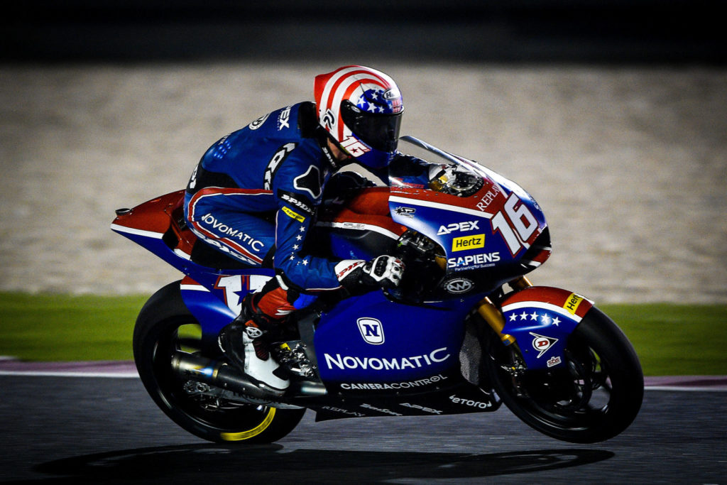 Joe Roberts (16) in action during the 2020 Moto2 World Championship opening round at Losail International Circuit, in Qatar. Photo courtesy of American Racing Team.