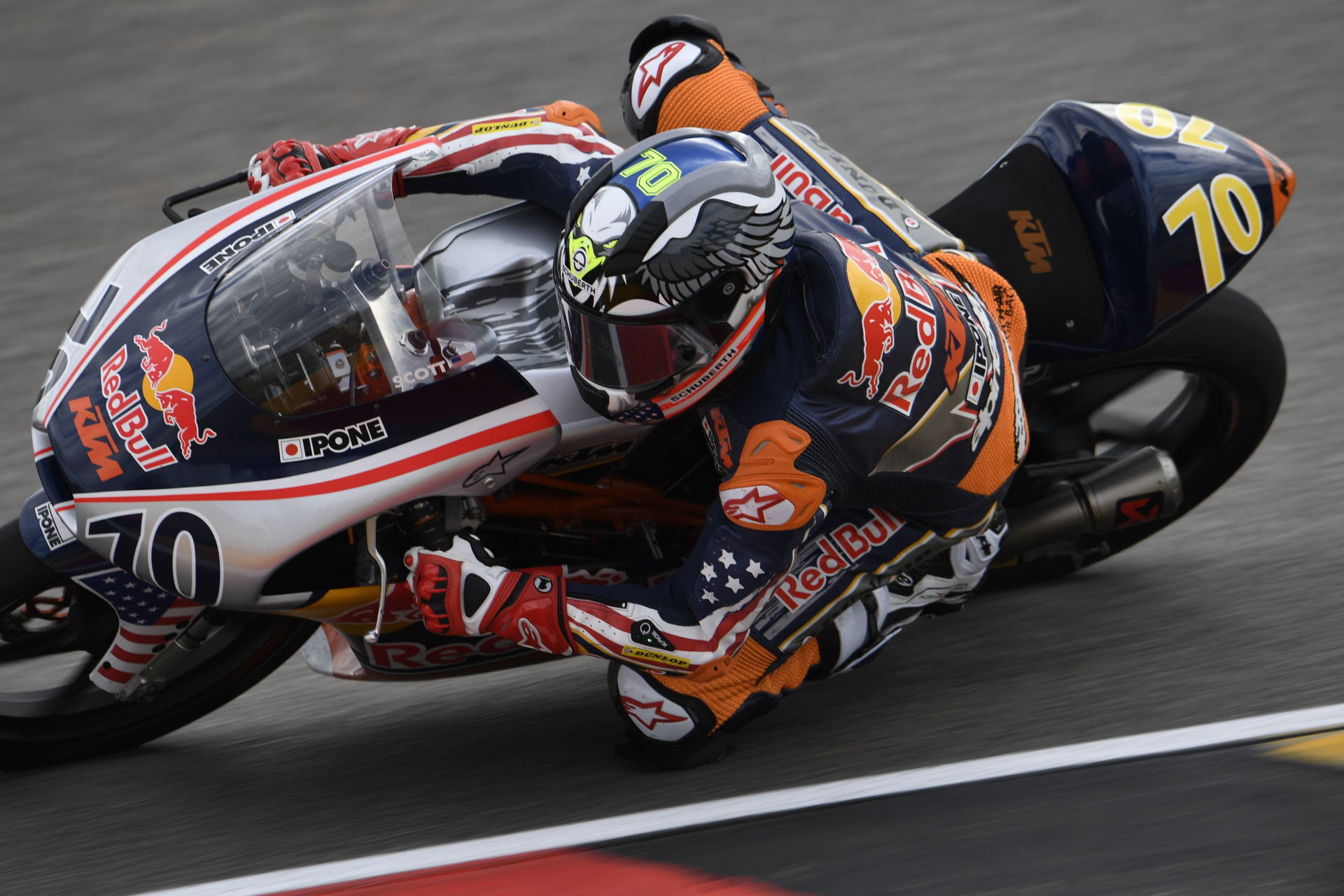 Tyler Scott (70) at speed during the 2019 Red Bull MotoGP Rookies Cup. Photo by GEPA Pictures, courtesy of Red Bull.