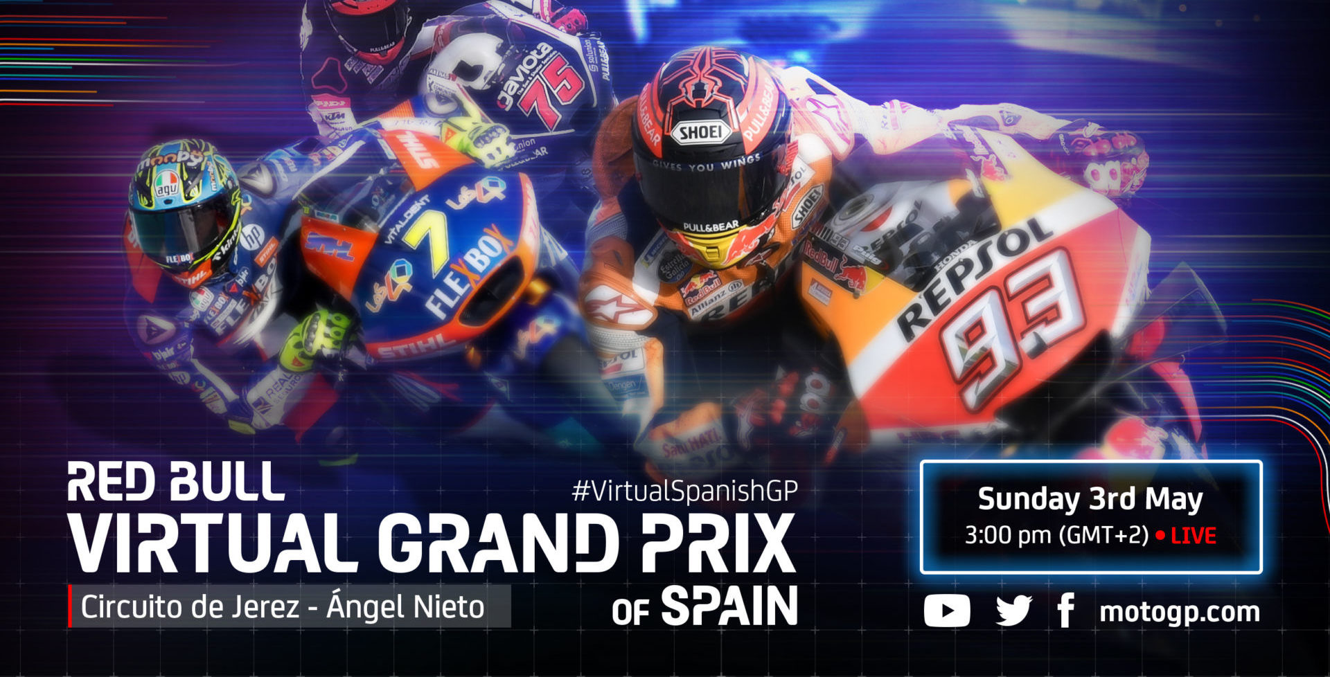 The Red Bull Virtual Grand Prix of Spain is scheduled Sunday, May 3. Image courtesy of Dorna.