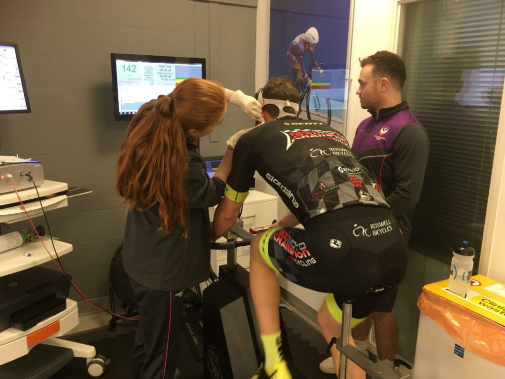 American Garrett Gerloff cycling during a fitness test at Loughborough Sport at Loughborough University in the UK. Photo courtesy of Yamaha.
